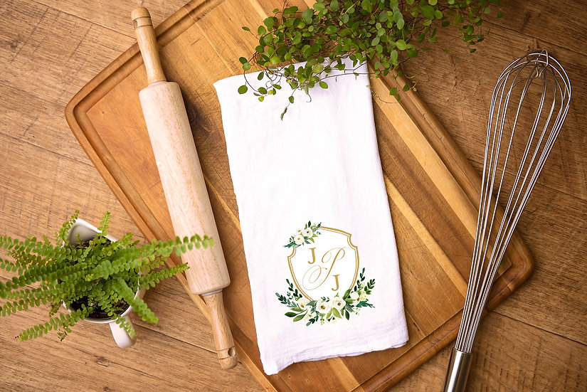 Custom Watercolor Crest Tea Towel