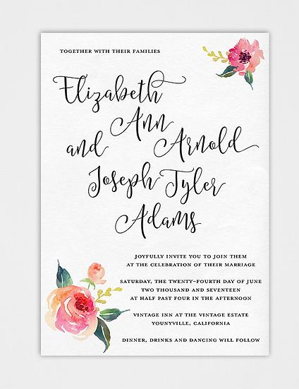 Floral Wedding Invitation, Watercolor Floral Wedding Invitation, Painted Wedding Invitation