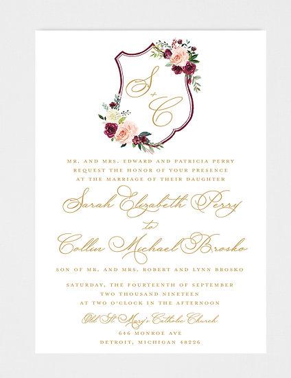 Blush Burgundy and Gold, Blush Burgundy Floral Wedding Invitation, Wedding Invitation Crest, Wedding Invitation Monogram