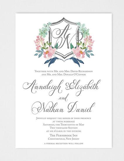 Crest Wedding Invitation, Monogram Wedding Invitation, Watercolor Wedding Invitation