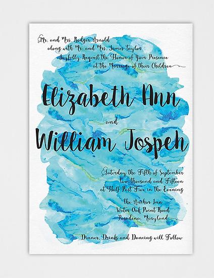 Teal Wedding Invitation, Watercolor Wedding Invitation, Teal Watercolor, Blue Watercolor