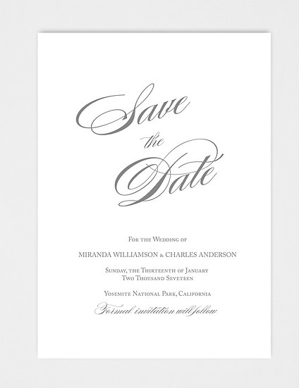 Elegant Classic Formal Calligraphy Script Save the Date