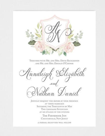 Watercolor Wedding Invitation, Crest Wedding Invitation, Monogram Wedding Invitation