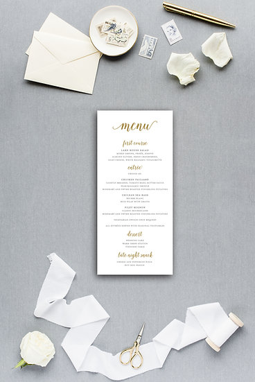 Classic Simple Elegant Modern Calligraphy Gold Dinner Menu Reception Menu Wedding Menu