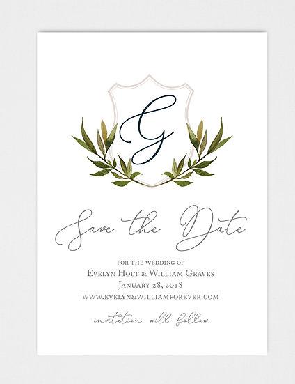 Wedding Crest Laurel Crest Save the Date