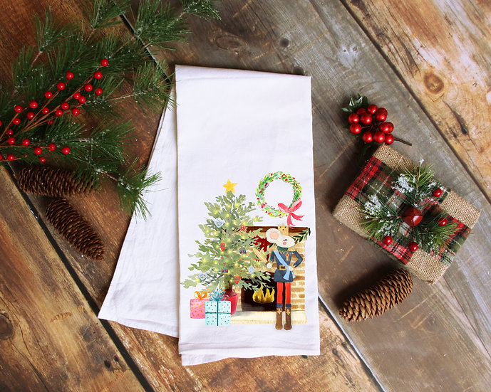 Mouse Christmas Tea Towel