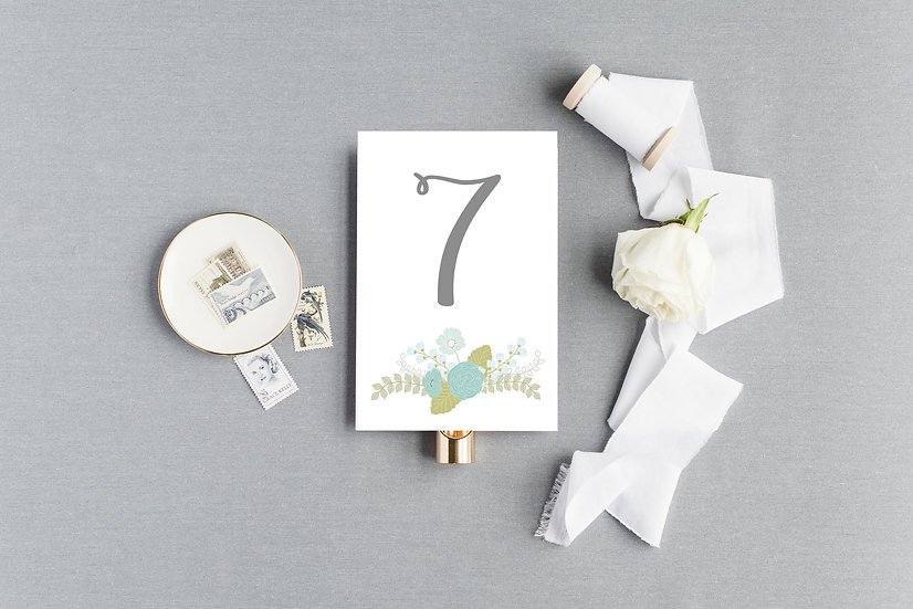 Blue Teal Green Watercolor Painted Floral Table Numbers