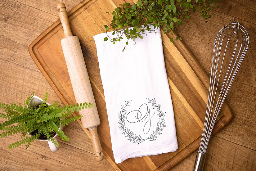 Custom Monogram Tea Towel