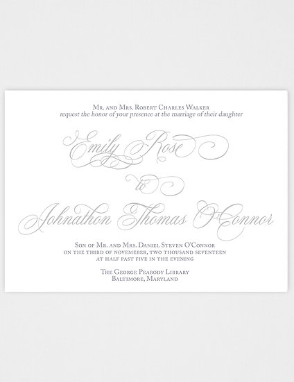 Calligraphy Wedding Invitation, Elegant Wedding Invitation, Classic Wedding Invitation, Vintage Wedding Invitation