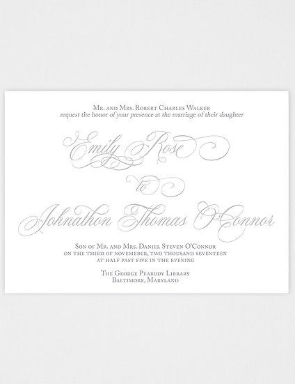 Calligraphy Wedding Invitation, Elegant Wedding Invitation, Classic Wedding Invitation, Vintage Wedding Invitation