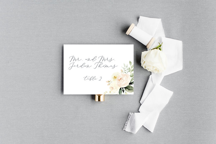 Ivory Blush Watercolor Floral Escort Cards Place Cards