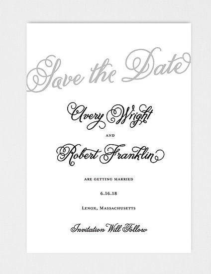 Elegant Classic Modern Calligraphy Save the Date