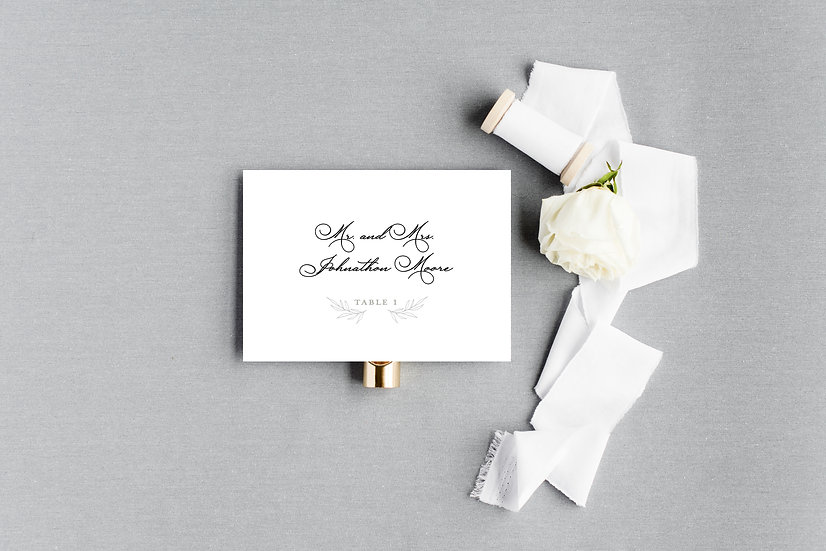 Hand Drawn Sketched Watercolor Gray Floral Laurel Escort Cards Place Cards