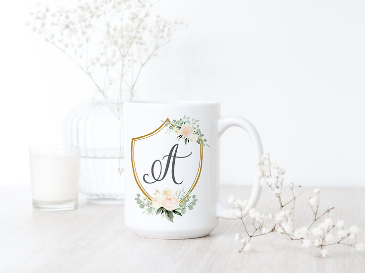 Custom Watercolor Floral Crest Mug