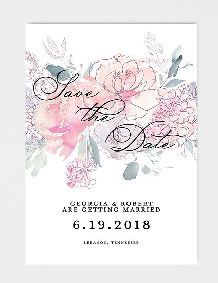 Pink Blush Magenta Painted Watercolor Floral Save the Date