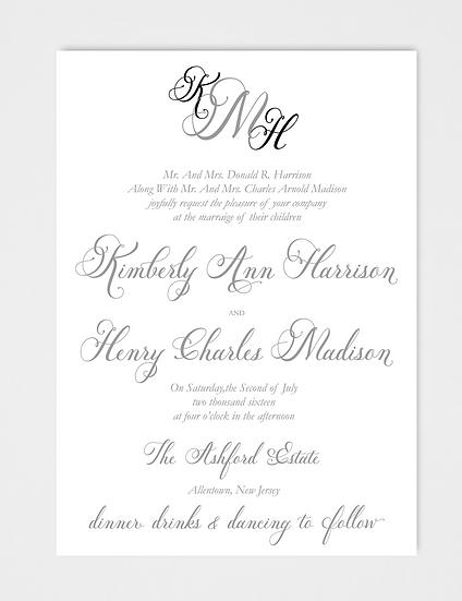 Calligraphy Wedding Invitation, Modern Wedding Invitation, Elegant Wedding Invitation, Formal Wedding Invitation