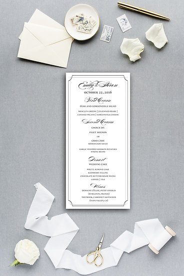 Classic Elegant Formal Calligraphy Dinner Menu Reception Menu Wedding Menu