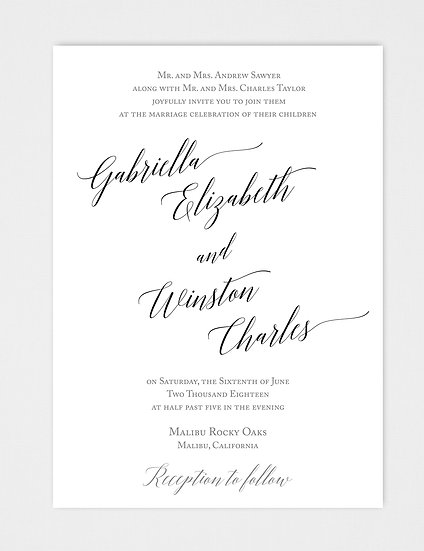 Calligraphy Wedding Invitation, Modern Wedding Invitation, Modern Calligraphy Wedding Invitation, Formal Wedding Invitation