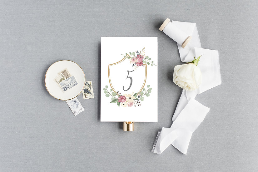 Floral Crest Table Numbers