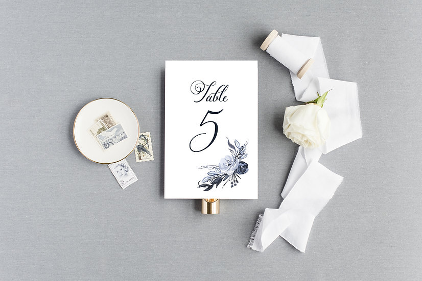 Blue Floral Table Numbers