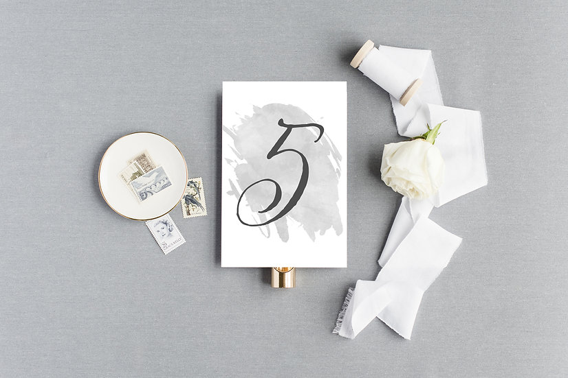 Gray Watercolor Table Numbers
