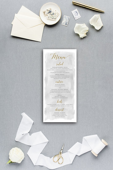 Gray and Gold Gray Watercolor Dinner Menu Reception Menu Wedding Menu