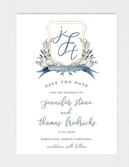 Blue Slate Blue Floral Laurel Wedding Crest Save the Date