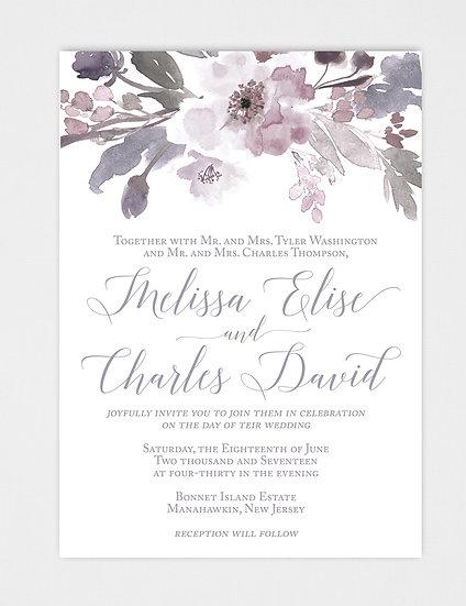 Floral Wedding Invitation, Watercolor Floral Wedding Invitation, Watercolor Wedding Invitation, Purple Wedding Invitation