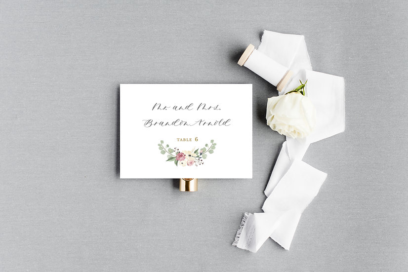 Blush Pink Ivory Painted Watercolor Floral Escort Cards Place Cards