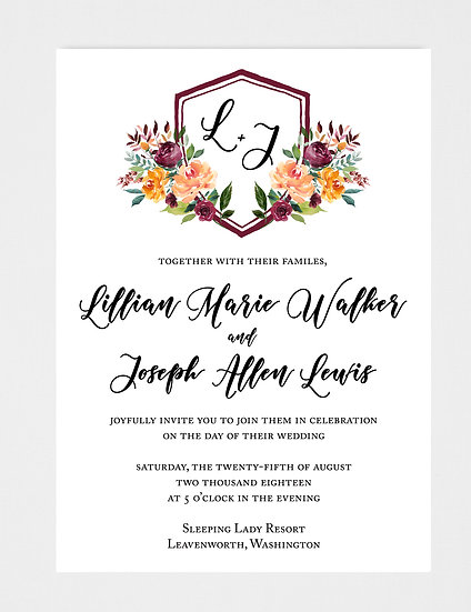 Crest Wedding Invitation, Monogram Wedding Invitation, Floral Crest Wedding Invitation, Calligraphy Wedding Invitation