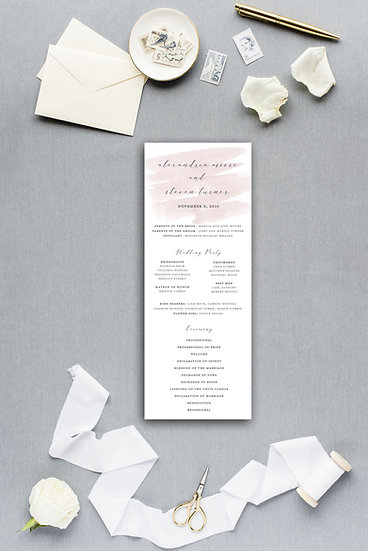 Blush Pink Watercolor Blush and Gray Ceremony Program Wedding Program