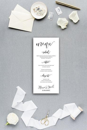 Classic Simple Modern Calligraphy Script Dinner Menu Reception Menu Wedding Menu