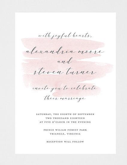 Pink Watercolor Wedding Invitation, Watercolor Wedding Invitation, Pink Wedding Invitation