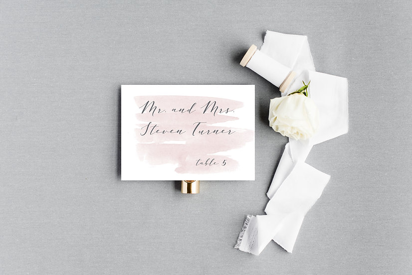 Pink and Gray Watercolor Escort Cards Place Cards