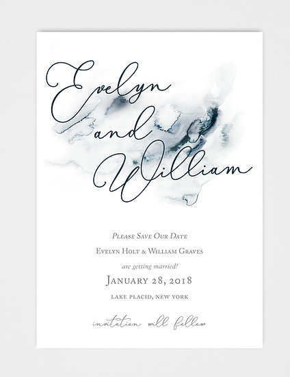 Blue Navy Blue Watercolor Save the Date