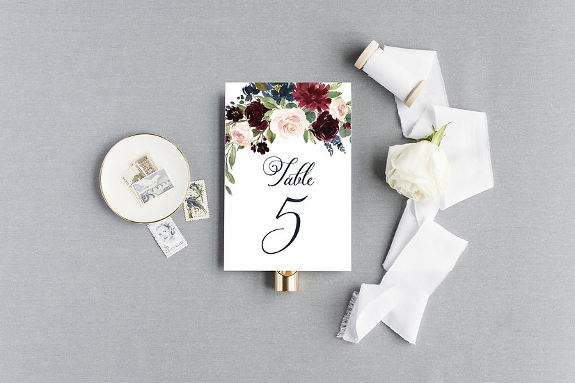 Blush Burgundy Marsala Painted Floral Table Numbers
