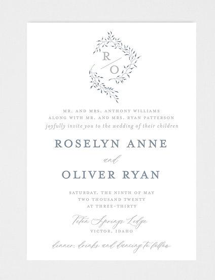 Slate Blue Wedding Invitation, Modern Laurel Wedding Invitation, Slate Blue and Gray Wedding Invitation