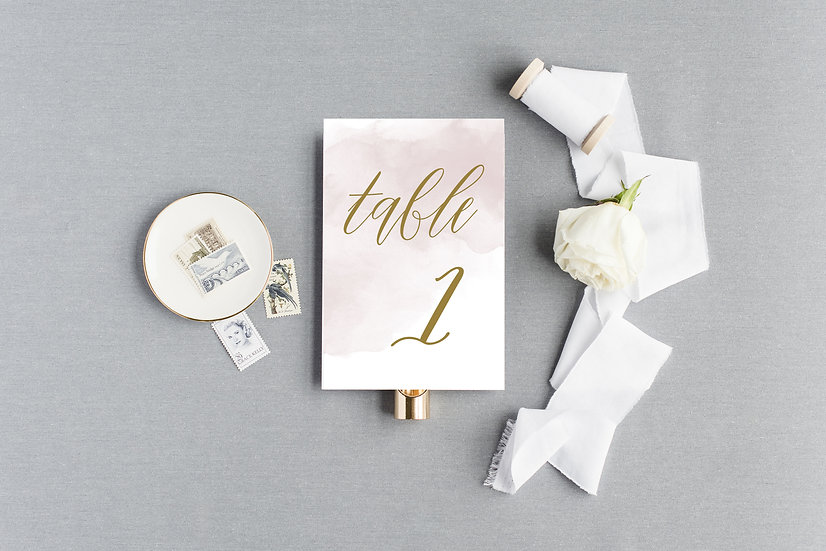 Pink and Gold Table Numbers