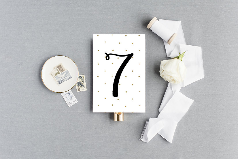Black and Gold Polka Dot Table Numbers