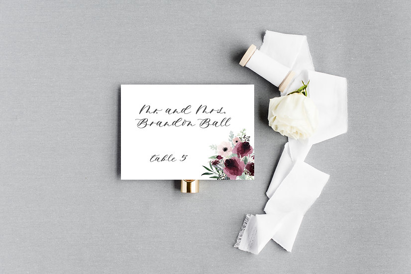 Blush Burgundy Marsala Watercolor Painted Floral Escort Cards Place Cards