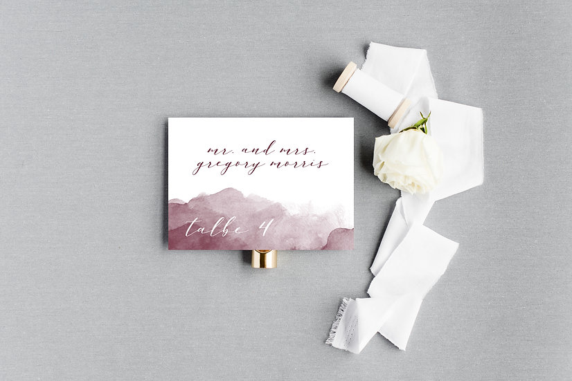 Marsala Burgundy Maroon Watercolor Escort Cards Place Cards