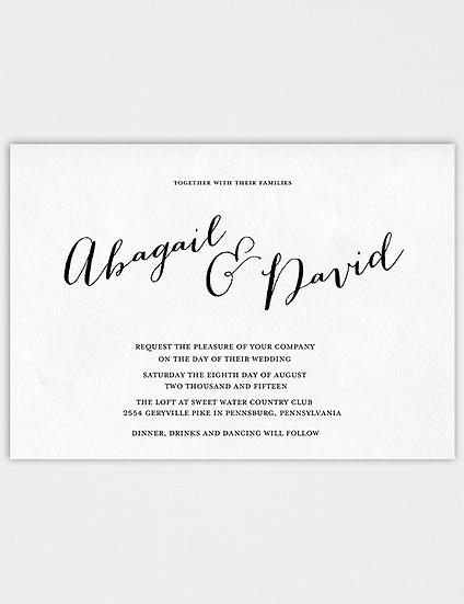 Calligraphy Wedding Invitation, Modern Wedding Invitation, Elegant Wedding Invitation, Classic Wedding Invitation