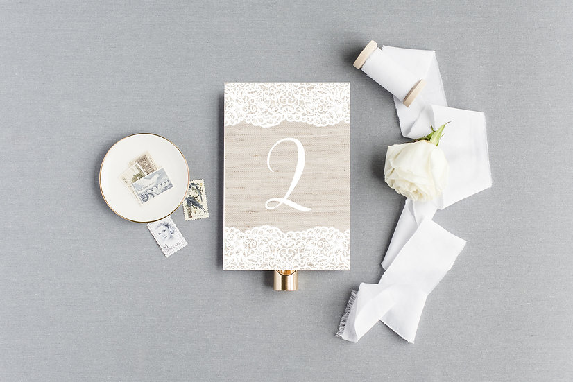 Burlap and Lace Country Rustic Shabby Chic Table Numbers