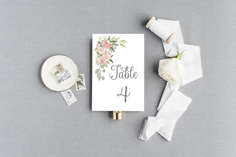 Blush Pink Peach Watercolor Floral Table Numbers