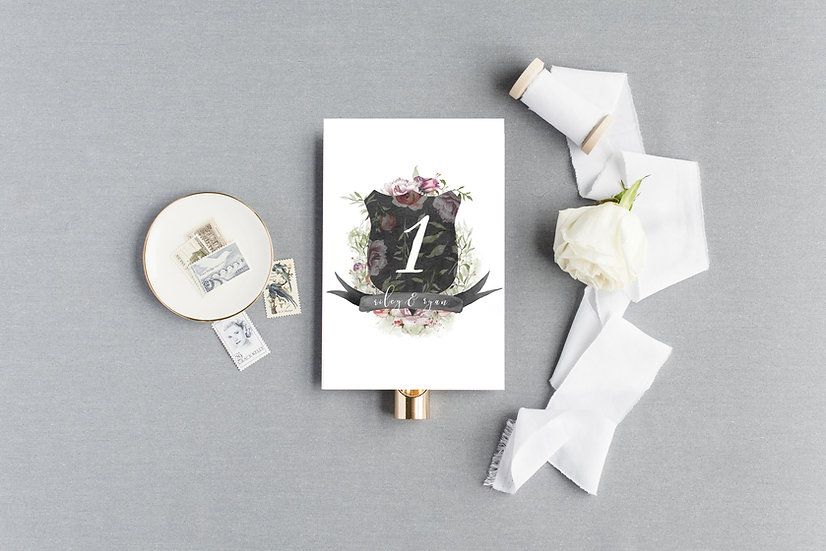 Black Rose Pink Watercolor Floral Crest Monogram Table Numbers