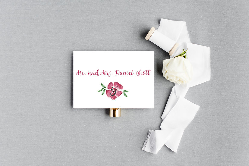 Pink Tropical Painted Floral Escort Cards Place Cards
