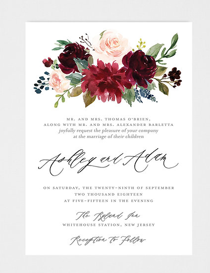 Blush Burgundy Floral Wedding Invitation, Blush Floral Wedding Invitation, Burgundy Floral Wedding Invitation