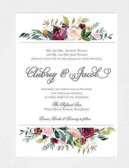 Floral Wedding Invitation, Watercolor Floral Wedding Invitation