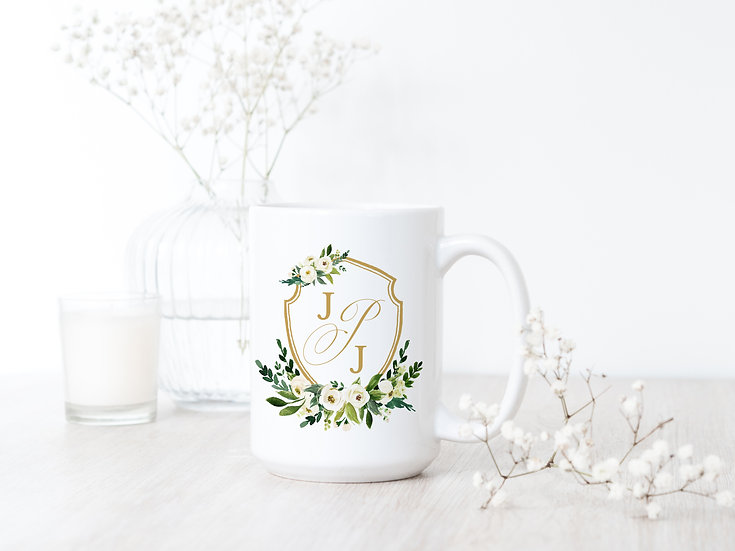 Custom Watercolor Floral & Gold Mug