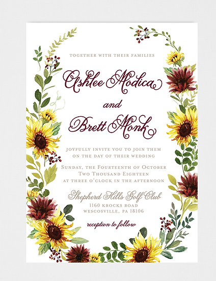 Sunflower Wedding Invitation, Fall Floral Wedding Invitation, Burgundy Wedding Invitation